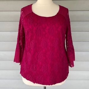 Style & Co Pink Lace Top Size 1X
